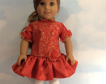 """Sparkling red /gold party dress for 18""""dolls"""