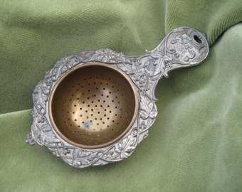 Vintage, Antique Tea Strainer, Pewter and Brass Strainer