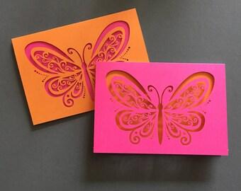 Elegant Butterfly — Laser Cut 6 Note Card Set