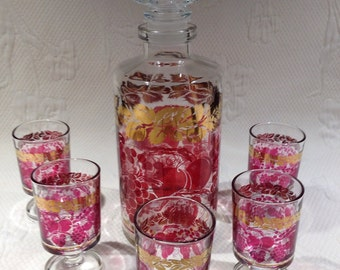 """Vintage decanter kit - all decanter and glasses """"Grapes & Golden Leaves"""" / / made in France"""