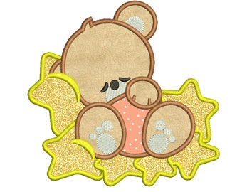 Baby bear Applique Design 7 sizes included.Machine embroidery design. Bear Embroidery design PES,Kid Embroidery, embroidery design,Applique