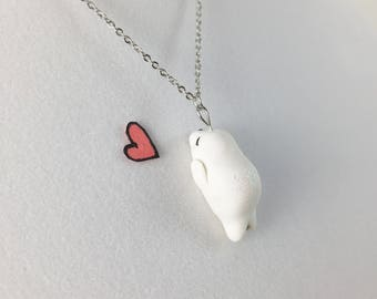 Cute Seal Necklace // White Seal Polymer Clay Charm // Kawaii Charm Gift