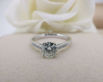 1 carat(6.5mm) Forever One( DEF) Moissanite Engagement ring with natural diamonds, Bridal Ring,Diamond Alternative engagement ring