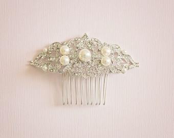 Bridal hair comb, Bridal Headpiece, Vintage hair comb, Silver hair comb, Rhinestone bridal hair comb, Bridal hair accessory