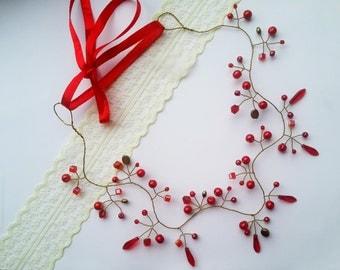 Red bridal crown,bridal headpiece, red wedding crown,red crystal headband, Red crystal crown, wire headpiece,red tiara, red hair accessories