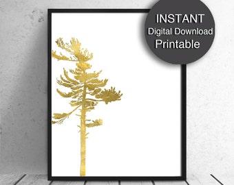Printable Art, Gold Tree, Scandinavian Modern Nature Art, A4 16x20 8x10 Digital Download