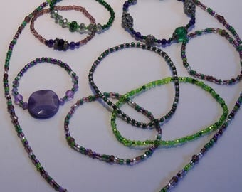 Greens & Purples! Necklace, Bracelets, Anklets Summer Jewelry - Fidget Jewelry - the Joker's fan club Collection! Priority Shipping!