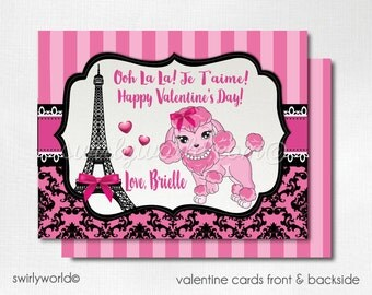Paris Poodle Valentine Cards, Digital Printable Pink Poodle Valentine Cards, Digital Valentine Cards, Digital Printable Valentines, DIVAL99