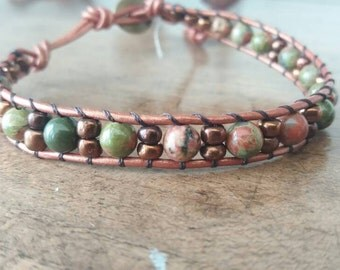 Leather cord bracelet and unakite