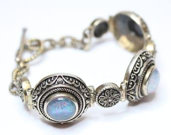 "Mosaic Opal Link Bracelet 7.5"" Length 925 Sterling Silver"