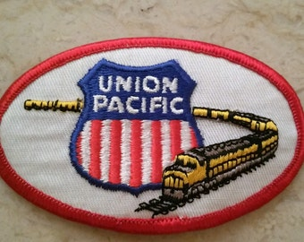 Free US Shipping / 1970s Vintage Union Pacific Railroad Patch train patch embroidered unique rail line NOS