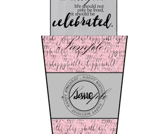 Pink and Gray Coffee Tumbler Gift Card Holder-Coffee Tumbler Cash Holder-Gift Card Holder for Birthday-Gift Card Holder for Coffee Lover