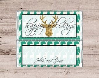Green and Gold Candy Bar Wrapper-Green Candy Bar Wrapper-Gold Deer Chocolate Wrapper-Gold Stag Candy Wrapper-Holiday Chocolate Bar Wrapper