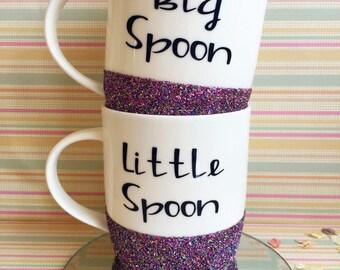 Set Of Rainbow Glitter Dipped Personalised Tea Coffee Mugs Big Spoon Little Spoon