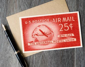 Air Mail, Airplane Cards, Gifts for Pilots, Postal Union, Universal Postal, Red Art Cards, Artist Cards, Airplane Stamps, USA stamp art