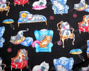 Cotton Craft Fabric featuring Lounging Cats, 110 cm