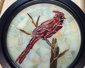 Mosaic glass cardinal wall hanging