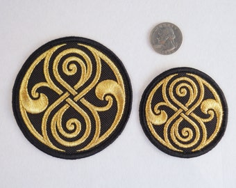 Doctor Who Seal of Rassilon Patch. Ultimate metallic gold version.