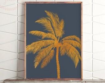 Gold Tropical Printable Art, Gold Palm Print, Gold Palm Tree Print, Tropical Decor Print, Palm Tropical Print, Coastal Decor Print
