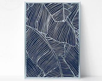 Silver Printable Banana Leaf Art, Blue Modern Wall Art, Tropical Leaf Art, Navy Blue Wall Print, Banana Leaf Wall Art, Banana Leaf Decor