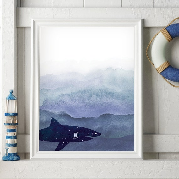 Blue shark print funny bathroom art shark by dreamyseahorse for How do sharks use the bathroom