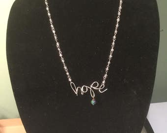 Hand-formed HOPE necklace