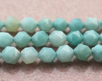 One Strand ,Cut Star Faceted Amazonite beads, Natural Amazonite Beads,6mm 8 mm 10mm 12mm, 15 inches