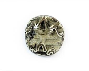Ammonite with silver pyrite geode 35х34 mm