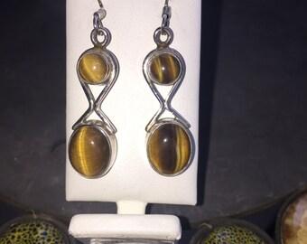 Tiger's eye earrings in silver
