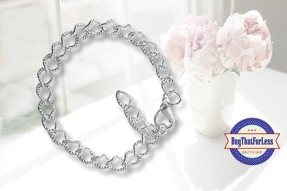 Textured Chain Charm Bracelet, 10 PCS clip end **20% OFF plus FREE Shipping**