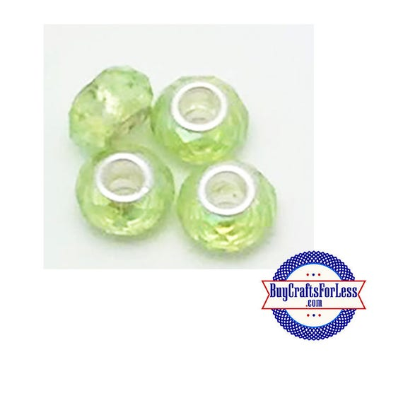 Acrylic Beads, LT GREEN, Multi-Faceted, 8 pcs  +Discounts & FREE Shipping*