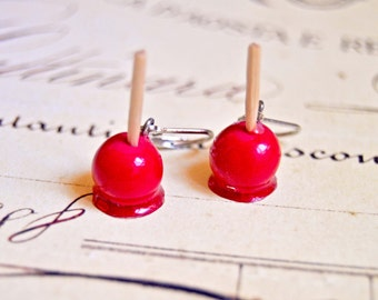 Handmade polymer clay candy apple earrings - Miniature food jewelry, miniature food earrings, candy apple earrings