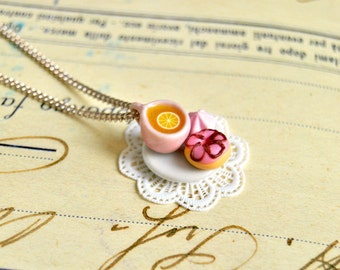 Handmade miniature teacup and donut necklace - miniature food jewelry, tea necklace, tea jewelry