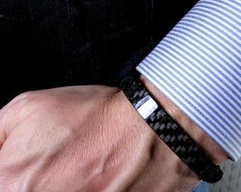 Carbon fiber mens bracelet. Gift for men. Boyfriend gift. Husband gift. Mens gift. Mens bracelet. Carbon fiber gift. Gifts for boyfriend