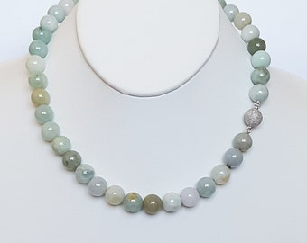Jade necklace with sterling silver ball clasp/Lucky jade necklace/Multi-color jade necklace/10mm round jade necklace/Healing stone necklace