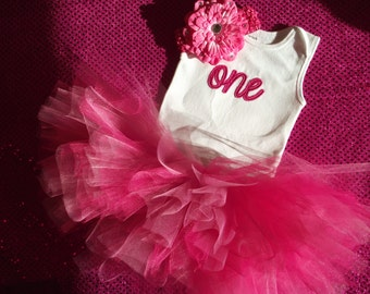 Baby Girl First Birthday outfit, 1st Birthday outfit, One onesie, pink birthday tutu, cake smash outfit