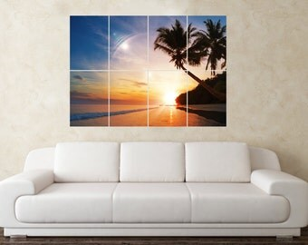 Large Palm Tree Sunset Wall Poster Art Picture Print