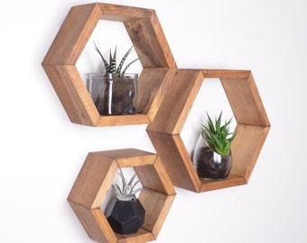 3 Hexagon Shelves, Honeycomb shelves, Geodesic Shelves, Hexagon Shelf, Hexagon Shelves, honeycomb shelf, floating shelf, floating shelves