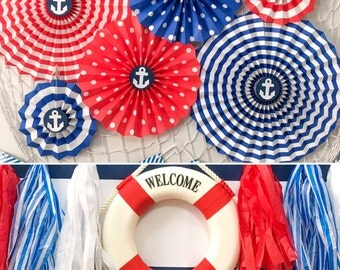 Nautical Party Kit, Birthday Party Decorations, Baby Shower Decorations, Blue, Red, White Paper Fans