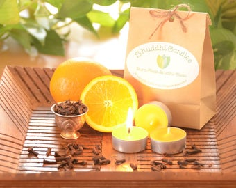 6 Orange Clove Organic Beeswax Tealights with Essential Oils