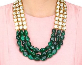 High quality Multistand kundan and emerald necklace