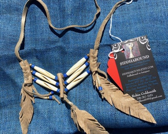 Bone and African Trade Bead Soft Leather Breast Plate