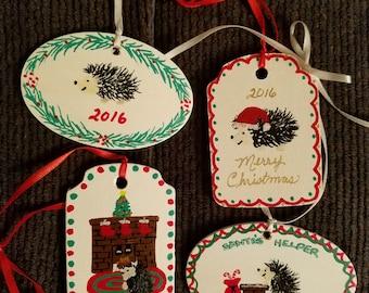 Set of 4 hedgehog Christmas ornaments