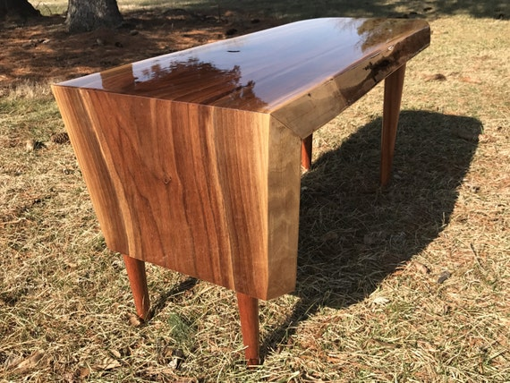 Live edge walnut waterfall edge coffee table end table for Waterfall design coffee table