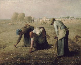 Jean-François Millet : Gleaners (1857) Canvas Gallery Wrapped Wall Art Print