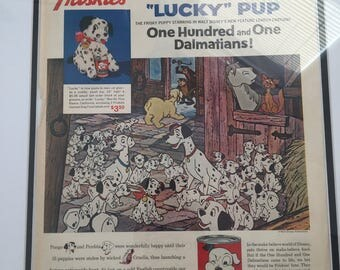 Framed Vintage Friskies Walt Disney Ad