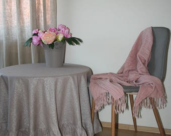 Ruffle linen Tablecloth with rose pattern, Linen tablecloth