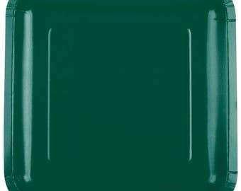 "25 (9"") Dark Green Square Paper Plate, Wedding Supplies, Wedding, Wedding Decor, Party Supplies, Party, Paper Plate, Tableware"
