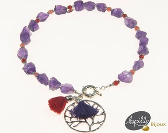 Necklace amethyst, Fossilized bamboo, tree of life, red, choker, purple,