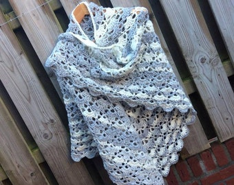 Handmade crochet shawl wrap. Gray/White